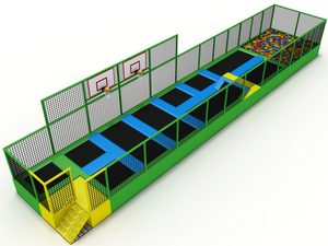 Narrow Mini Trampoline Park with Basketball