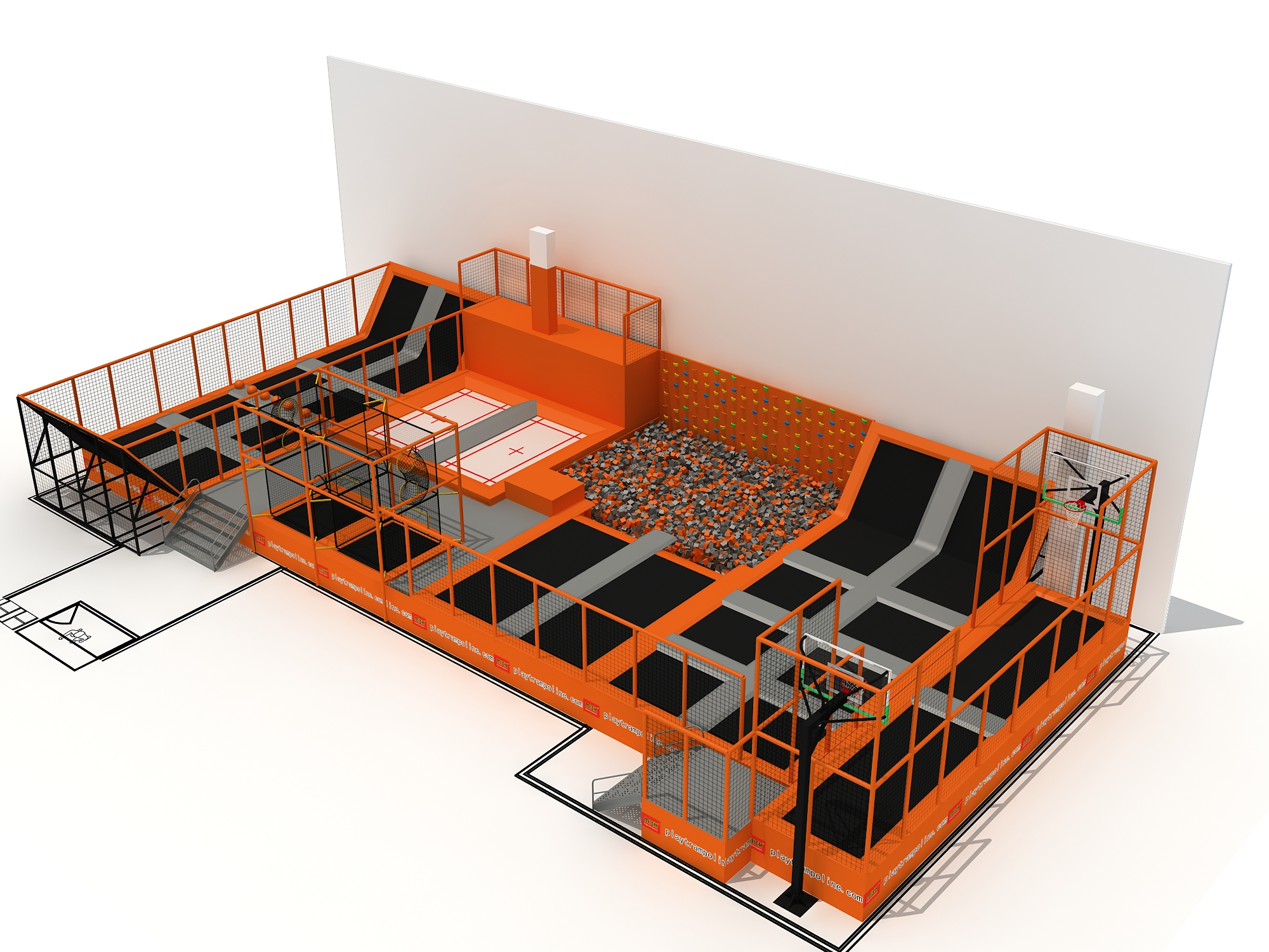MICH professional kids indoor trampoline amusement play park