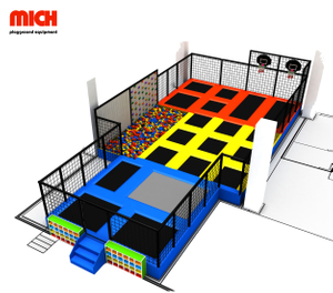 Custom Trampoline Park with Kids Climbing Wall