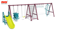 Playground Equipment Outdoor Double Sits Kids Swing Set with Climbing And Slides
