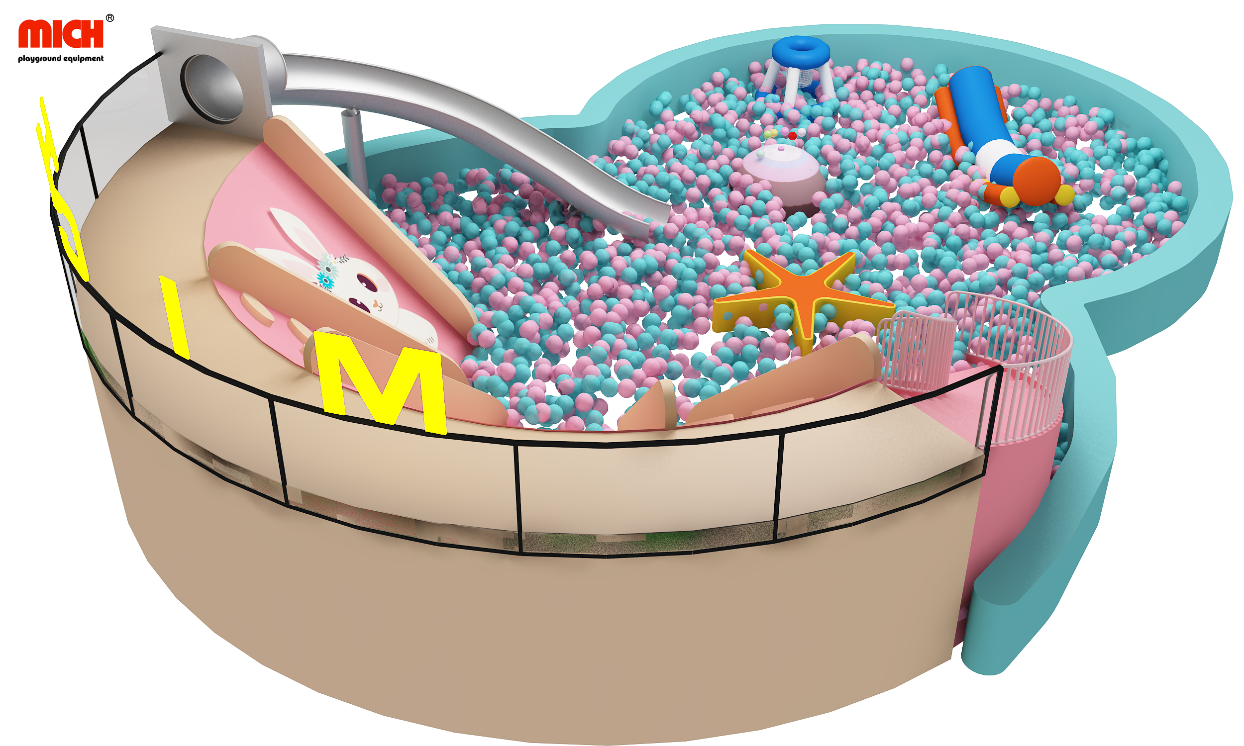Mich Indoor Large Ball Pit Pool with Slide