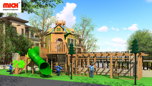 Custom Big Wooden Kids Outdoor Playhouse
