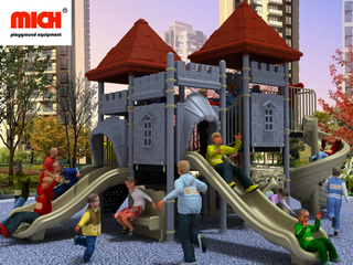 Customized Children Outdoor Multiple Slides Playset